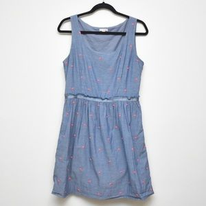 Gap Blue with Pink Mini Polka Dot Embroidery Dress